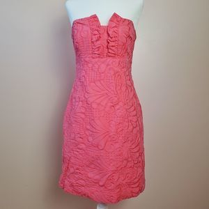 Llly Pulitzer Strapless Dress Hot Pink Size 4